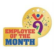 Enamel Employee Of The Month Lapel Pin with Presentation Card