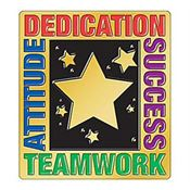 Attitude Dedication Success Teamwork Lapel Pin With Presentation Card