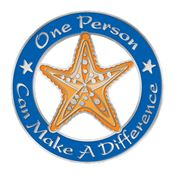 One Person Can Make A Difference Round Starfish Lapel Pin With Presentation Card