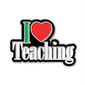 I (HEART) Teaching Lapel Pin With Presentation Card