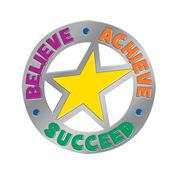Believe Achieve Succceed Round Lapel Pin With Presentation Card