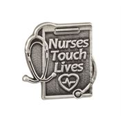 Nurses Touch Lives Pewter Lapel Pin With Presentation Card