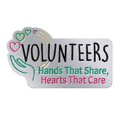 Volunteers: Hands That Share, Hearts That Care Lapel Pin With Presentation Card