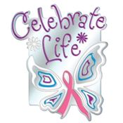 Celebrate Life Butterfly Ribbon Breast Cancer Awareness Lapel Pin With Presentation Card
