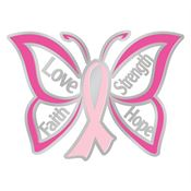 Love Faith Strength Hope Butterfly Design Breast Cancer Awareness Lapel Pin With Presentation Card