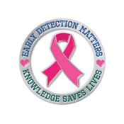 Early Detection Matters, Knowledge Saves Lives Lapel Pin With Presentation Card