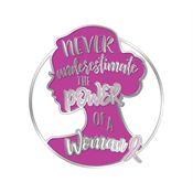 Never Underestimate The Power Of A Woman Lapel Pin With Presentation Card