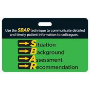 SBAR: Situation, Background, Assessment, Recommendation Hospital Laminated Badge Card