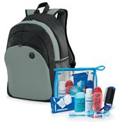 8-Piece Backpack & Hygiene Kit Combo (Gray)