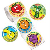 Fun Fruits & Veggies Stickers-On-A-Roll