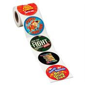 Drug Free Assorted 5-On-A-Roll Red Ribbon Message Stickers