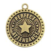 Perfect Attendance Star Design Gold Academic Medallion