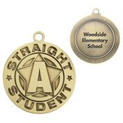 Straight A Student Gold Academic Medallion - Personalization Available