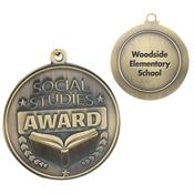 Social Studies Award Gold Academic Medallions - Personalization Available