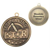 Test-Taking Star Gold Academic Medallion - Personalization Available