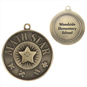 Math Star Gold Academic Medallion - Personalization Available