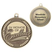 In Honor Of Excellence Gold Academic Medallion With Laser Engraved Personalization