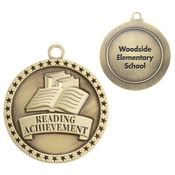 Reading Achievement Gold Academic Medallion - Personalization Available