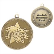 Graduate Gold Academic Medallion With Laser Engraved - Personalization Available