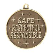 Safe, Respectful, Responsible Gold Academic Medallion - Personalization Available