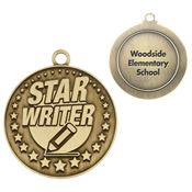 Star Writer Gold Academic Medallion - Personalization Available