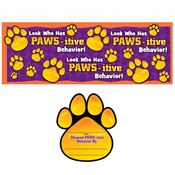 Look Who Has PAWS-itive Behavior! Bulletin Board Headers With 25 Award Paws