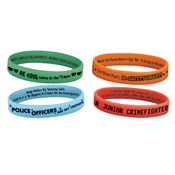 Police Officer 2-Sided Glow Silicone Bracelet Assortment Pack