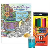 Keep Calm & Color On Adult Coloring Book, Colored Pencils & Sharpener Gift Set
