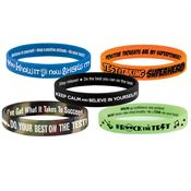 2-SIded Silicone Test-Taking Motivational Silicone Bracelets 50-Piece Assortment Pack