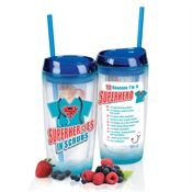 Superheroes In Scrubs Double-Wall Acrylic Tumbler With Fruit Infuser & Straw