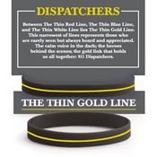9-1-1 Dispatchers: The Thin Gold Line Silicone Bracelet With Presentation Card