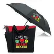 Get Pumped About Heart Health Meadowbrook Tote & Automatic Umbrella Gift Combo