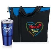 Volunteers Are The Heart Of Our Team Meadowbrook Tote & Timber Insulated Tumbler Gift Set