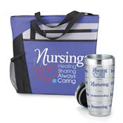 Nursing: Healing, Sharing, Always Caring Mercer Tote Bag & Message Tumbler Combo