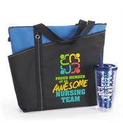 Proud Member Of An Awesome Nursing Team Meadowbrook Tote & Fruit-To-Go Infuser Tumbler Gift Combo
