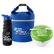 We Love, We Care, We Make A Difference Tahoe Grip Water Bottle, Bellmore Cooler/Lunch Bag, & Food Container Gift Set