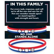 In This Family No One Stands Alone Silicone Bracelet With Presentation Card