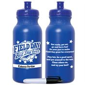 Field Day: Best Day Ever Royal Blue Water Bottle With Permanent Marker