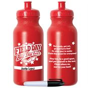 Field Day Best Day Ever Red Water Bottle With Permanent Marker