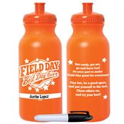 Field Day: Best Day Ever Orange Water Bottle With Permanent Marker