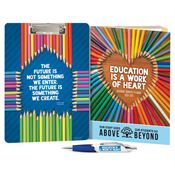 Education Is A Work Of Heart Clipboard & Full-Color Pen Academic Monthly Desk Planner Gift Set