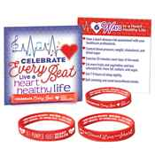 Red Silicone 2-Sided Heart Health Awareness Bracelets With Reminder Card Assortment Pack
