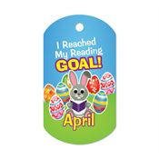 "I Reached My Reading Goal April Award Tag With 4"" Chain"