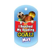 "I Reached My Reading Goal May Award Tag With 4"" Chain"