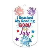 "I Reached My Reading Goal July Award Tag With 24"" Chain"