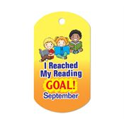 "I Reached My Reading Goal September Award Tag With 4"" Chain"