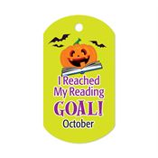 "I Reached My Reading Goal October Award Tag With 4"" Chain"