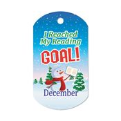 "I Reached My Reading Goal December Award Tag With 24"" Chain"