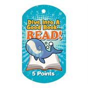 Dive Into A Good Book... Read! 5 Points Award Tag With 4