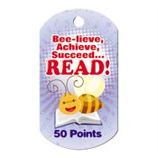 Bee-lieve, Achieve, Succeed... Read! 50 Points Award Tag With 24
